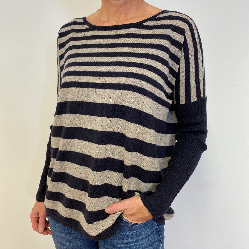 Navy Blue and Grey Striped Tunic Style Jumper Medium