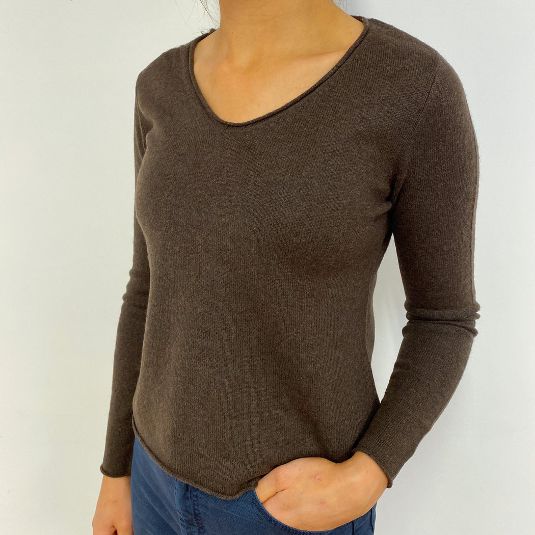 Chocolate Brown V Neck Jumper Small