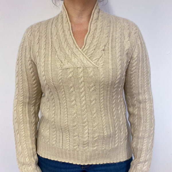 Honey Cable Knit V Neck Jumper Large