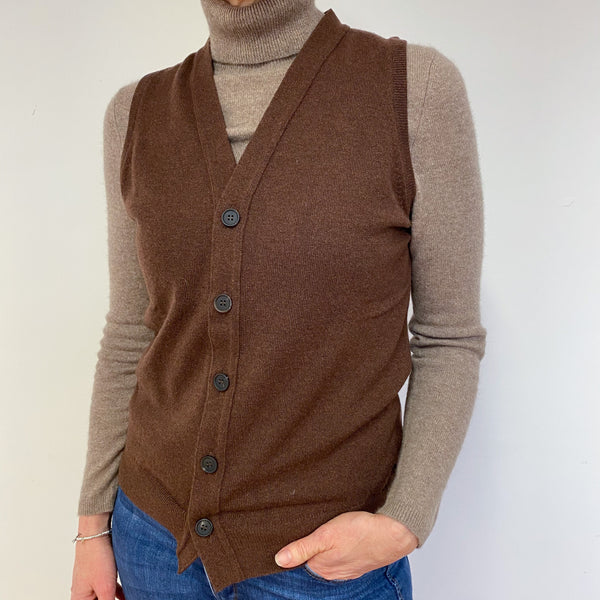 Brand New Scottish Unisex Chocolate Brown Sleeveless Cardigan/Waistcoat Medium