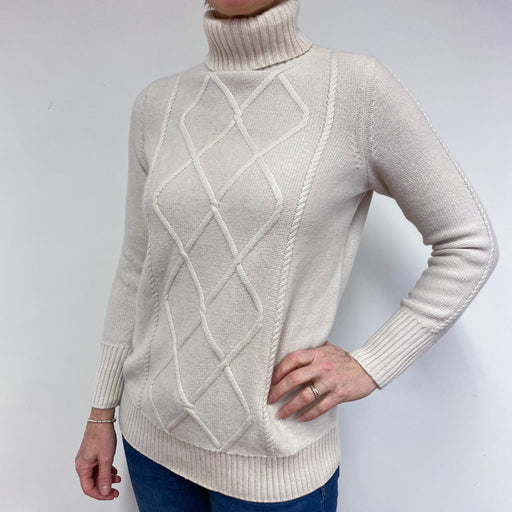 Ivory Chunky Knit Polo Neck Jumper Medium