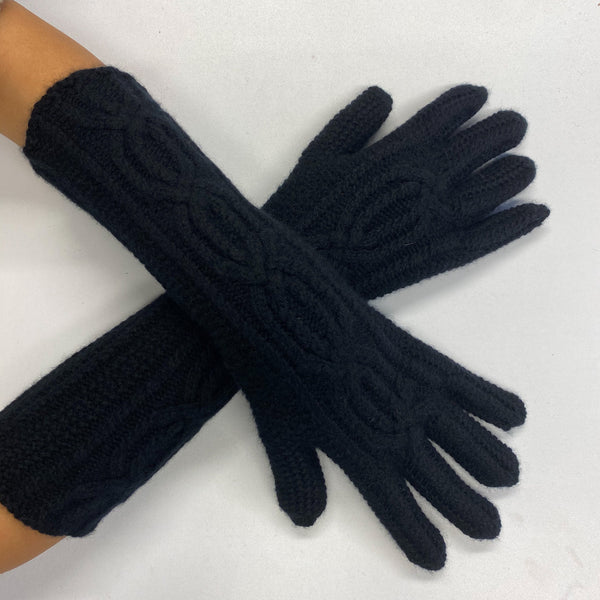 Brand New Long Black Cable Knit Gloves