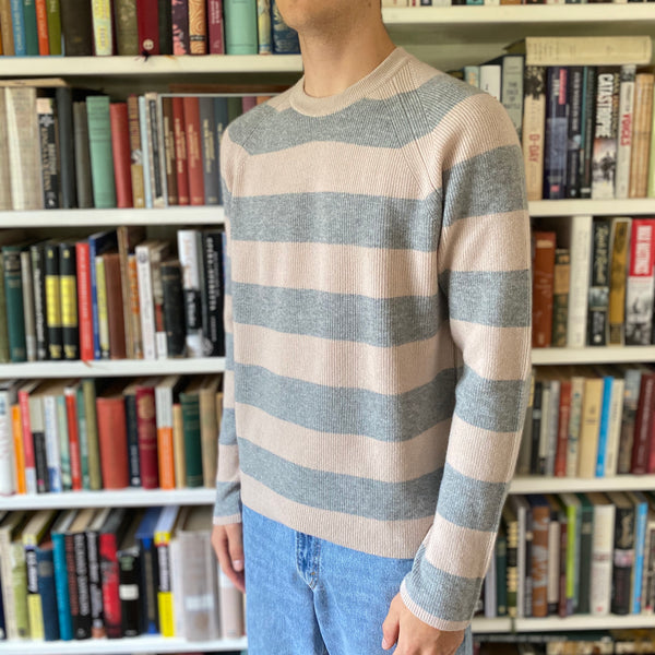 Men's Limited Edition Grey and Pink Striped Crew Neck Jumper Medium