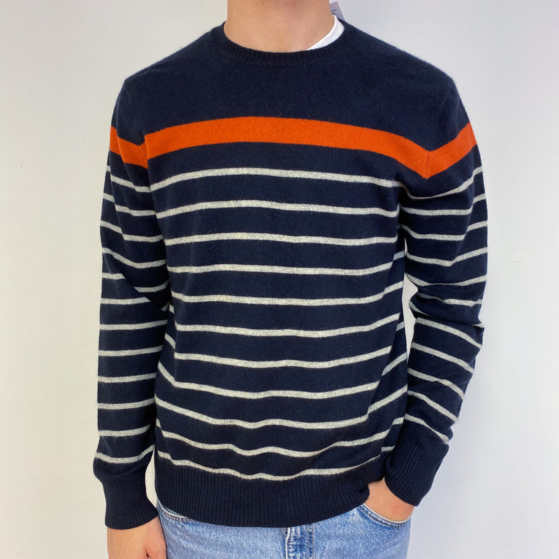 Men's Navy Blue and Orange Stripe Crew Neck Jumper Large