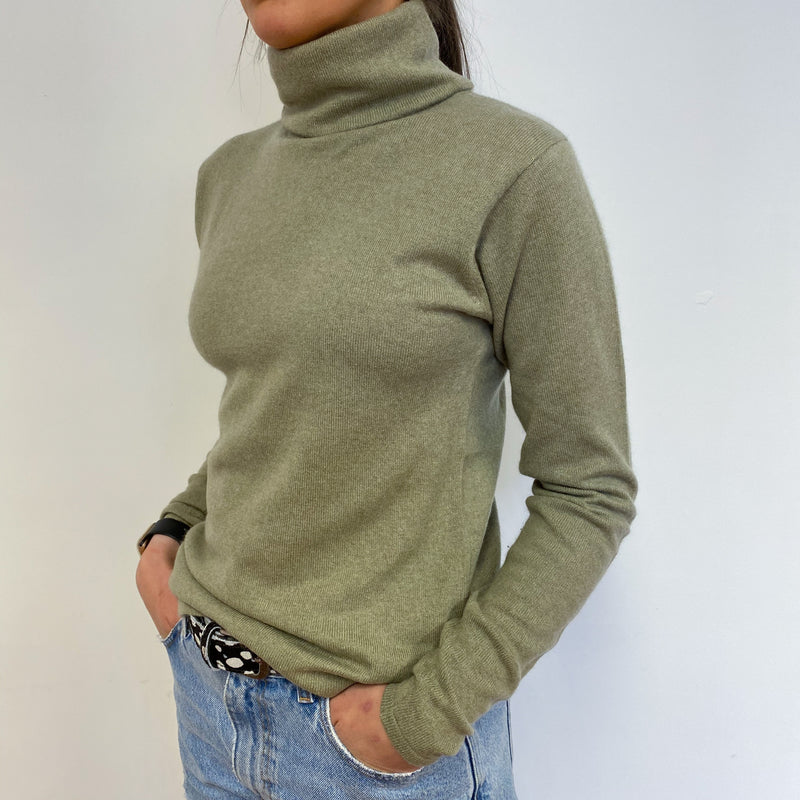 Olive Green Polo Neck Jumper Small