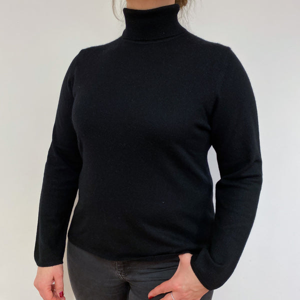 Classic Black Polo Neck Jumper Large