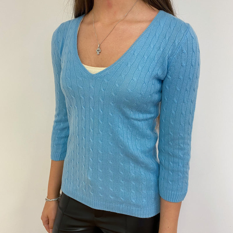 Periwinkle Cable Knit V Neck Jumper Extra Small