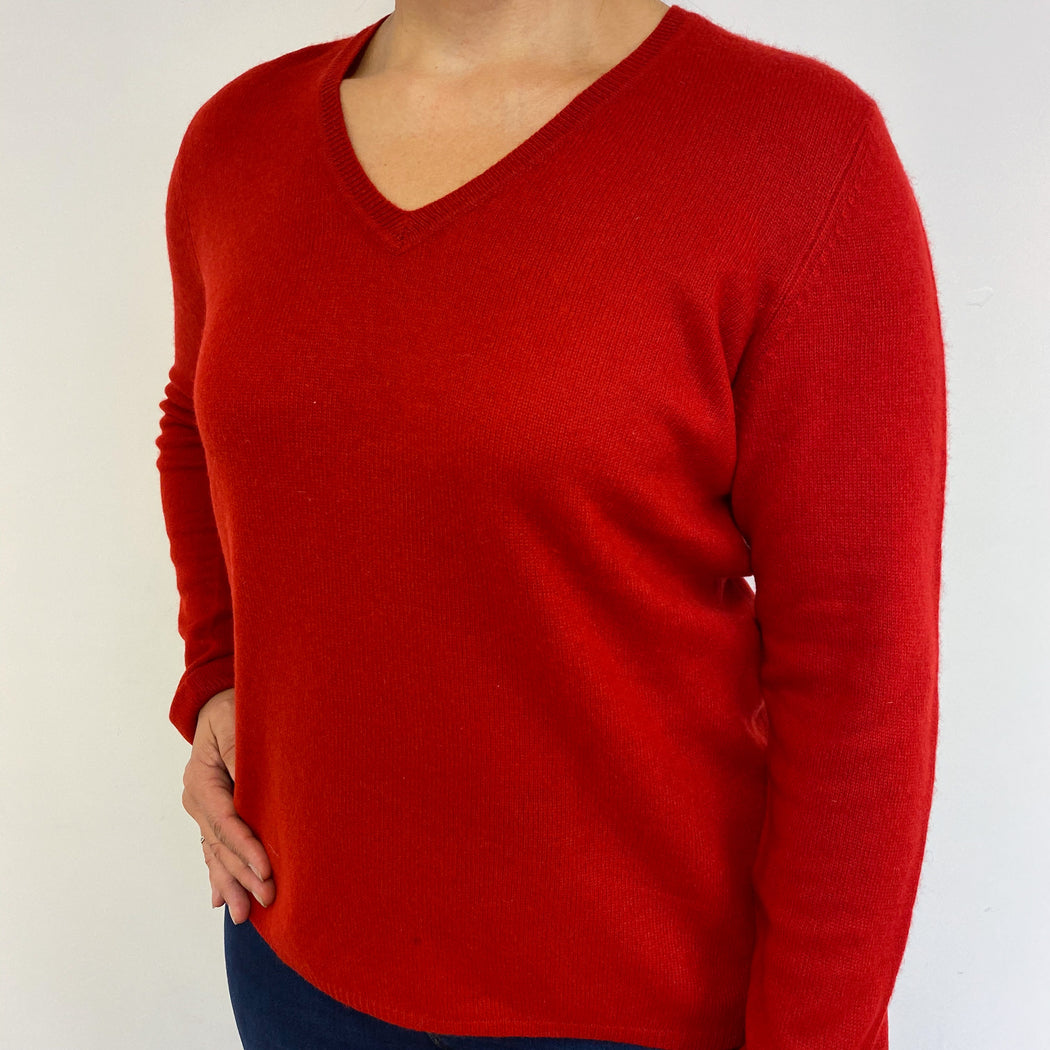 Scarlett Red V Neck Jumper Large