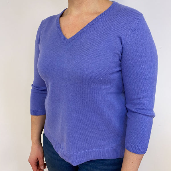 Amethyst Purple V Neck Jumper Large
