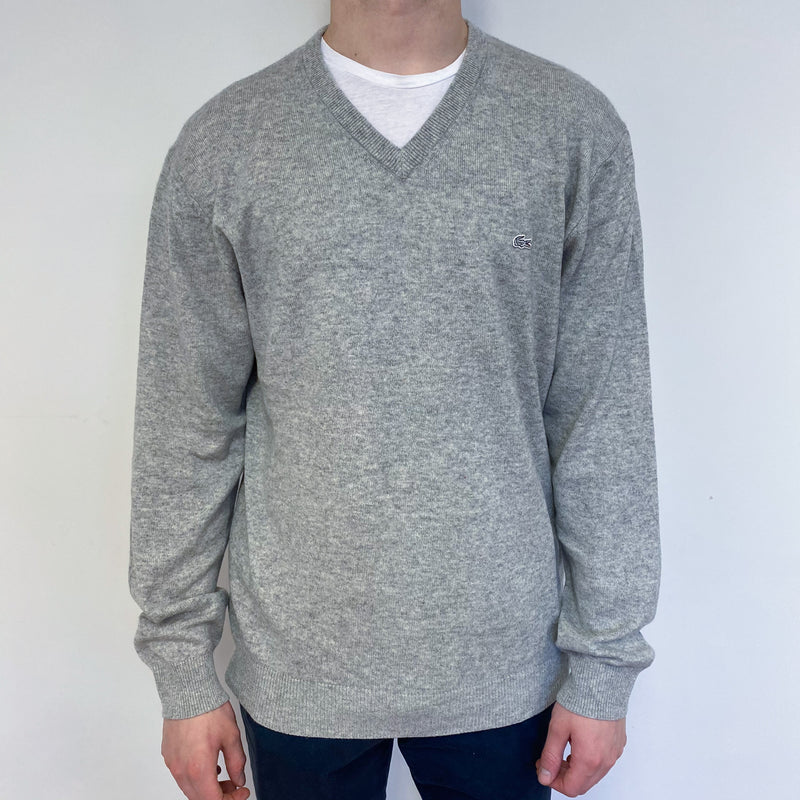 Men's Mist Grey V Neck Jumper Small