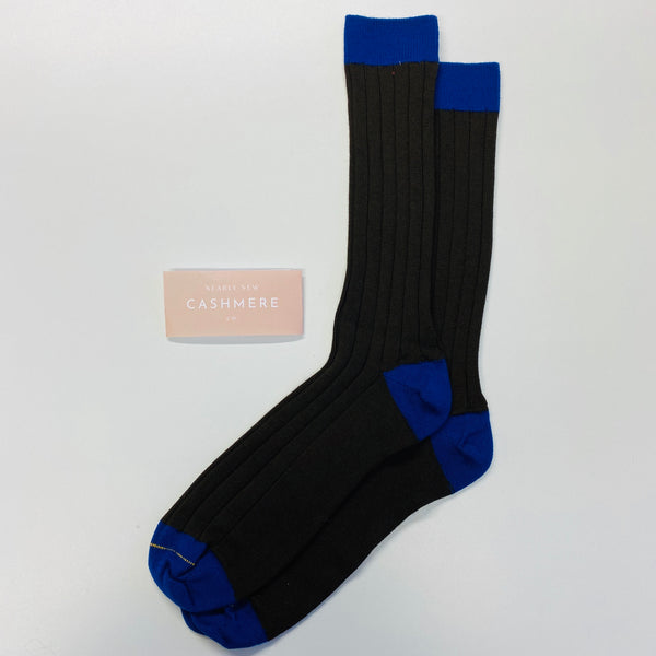 New Brown And Royal Blue Men's Cashmere Socks