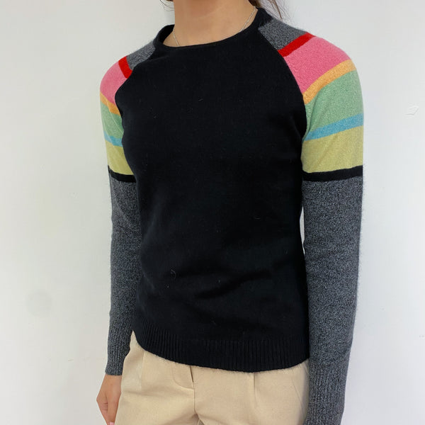 Black and Multicoloured Stripe Crew Neck Jumper Extra Small