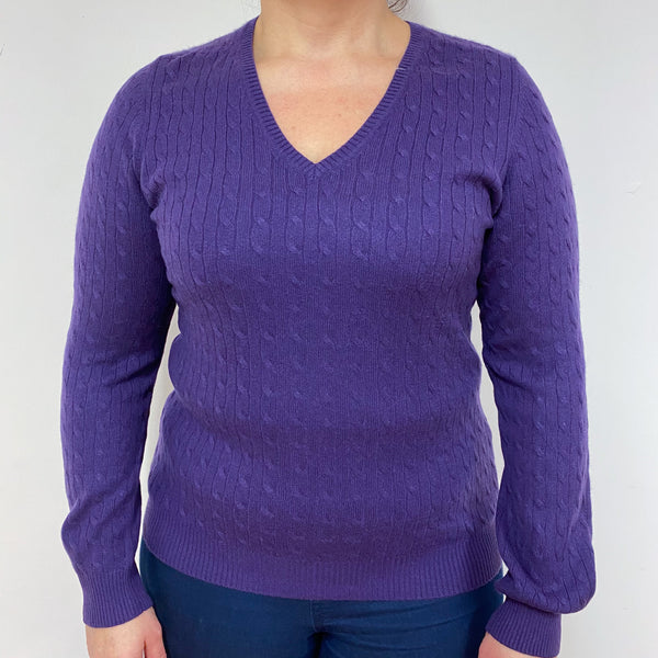 Plum Cable Knit V Neck Jumper Large