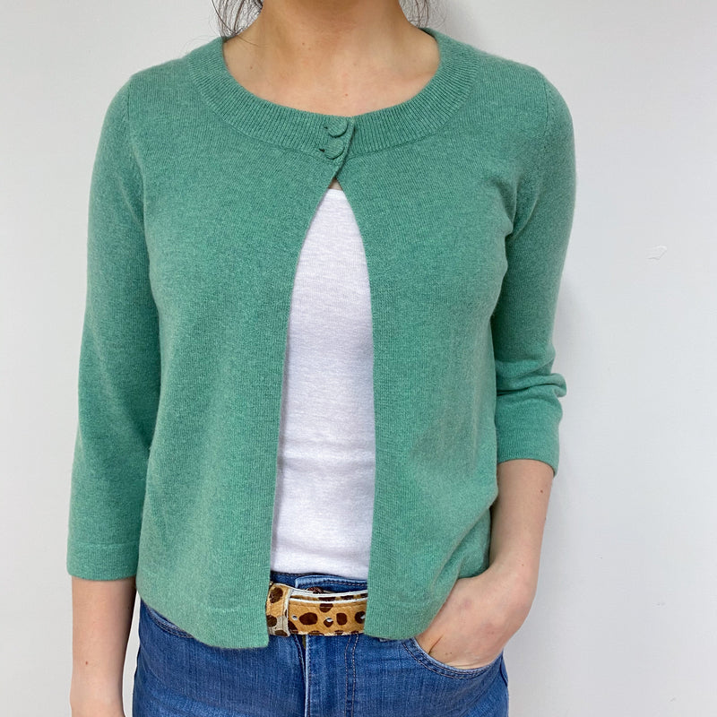 Jade Green Cropped Crew Neck Cardigan Small