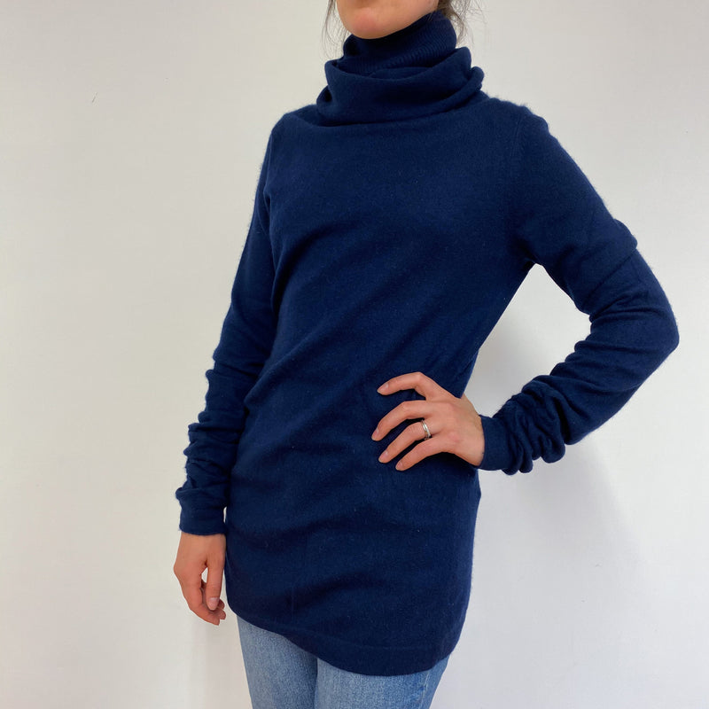 Navy Designer Polo Neck Jumper Medium