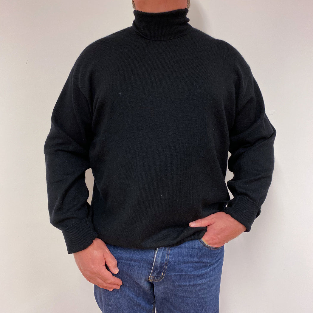 Men's Classic Fit Black Polo Neck Jumper XXL