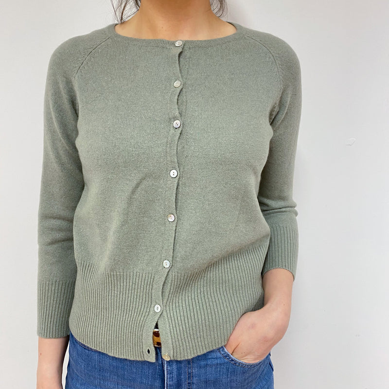 Sage Green Crew Neck Cardigan Small