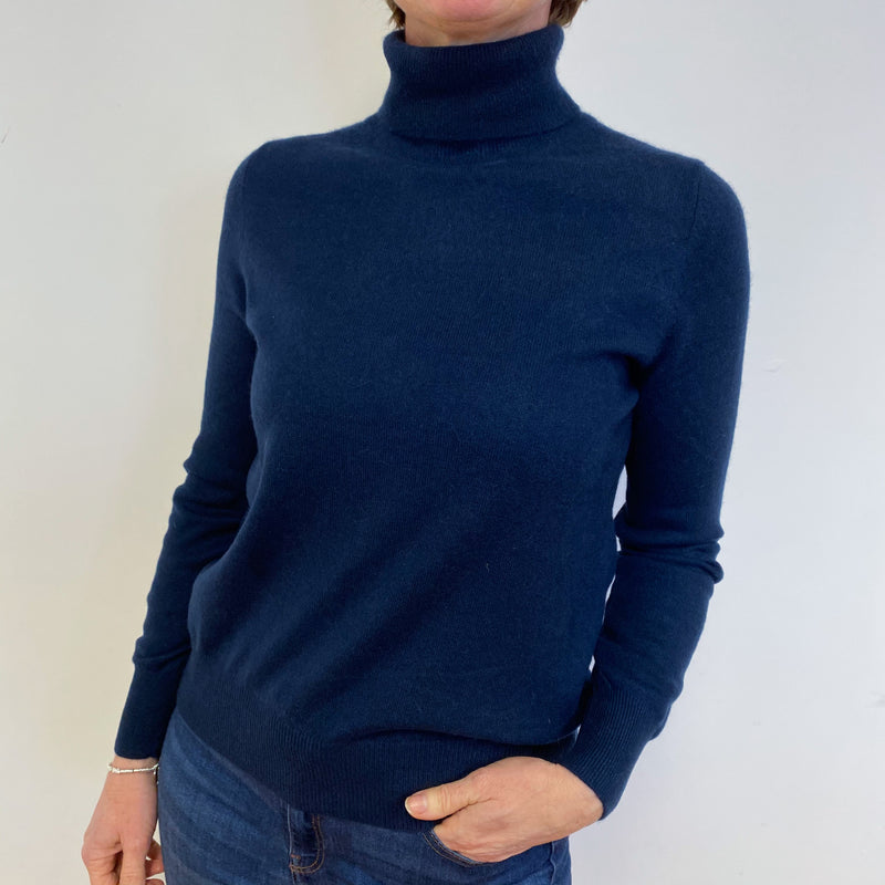 Navy Polo Neck Jumper Medium