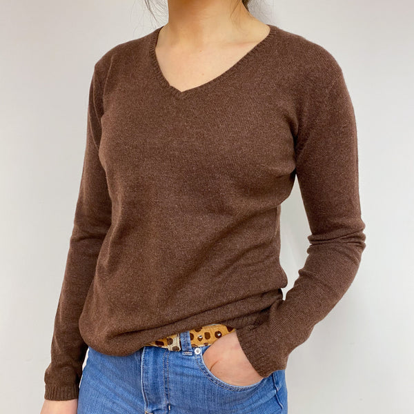 Rust Brown Heart Detailed V Neck Jumper Small