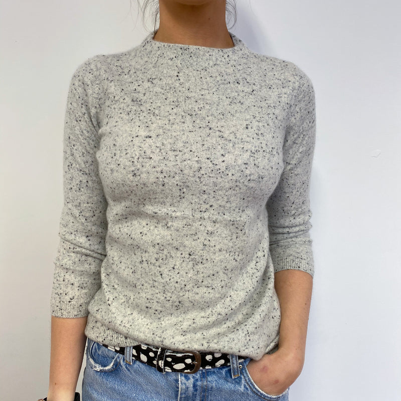 Pale Grey Speckled Crew Neck Jumper Small