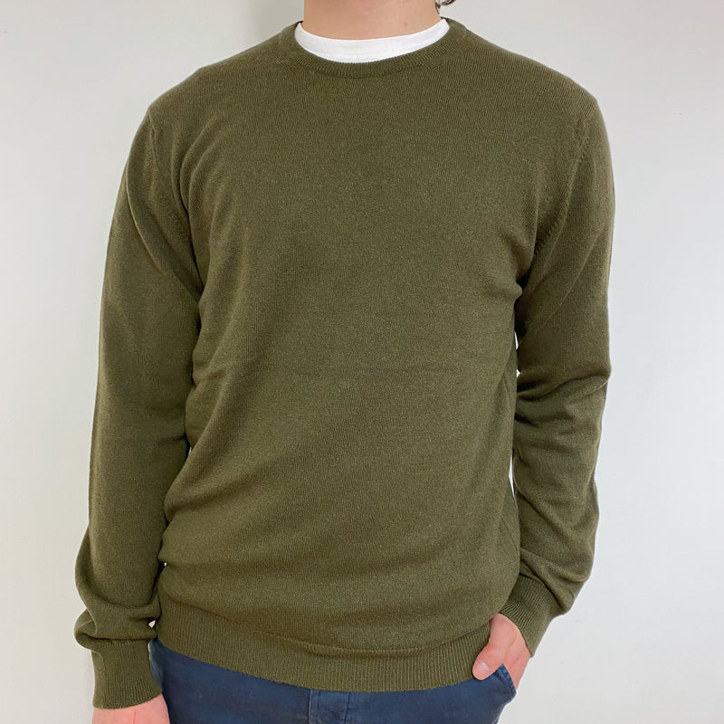 Men's Brand New Khaki Green Crew Neck Jumper Medium