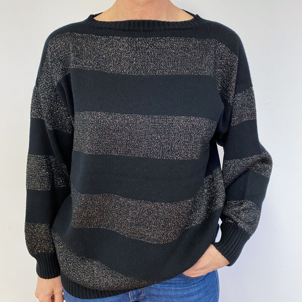 Brand New Black and Metallic Stripe Crew Neck Jumper Medium