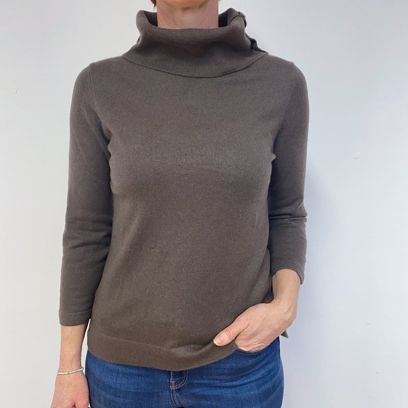 Cedar Brown Button Detail Roll Neck Jumper Medium