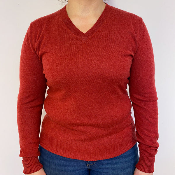 Vermillion Red V Neck Jumper Large