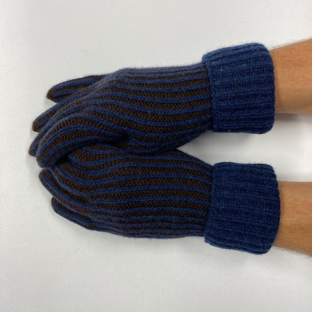 Men's *New* Blue Striped Recycled Cashmere Gloves