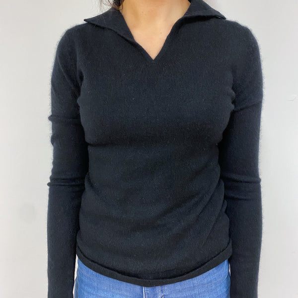 Black Collared V Neck Jumper Small