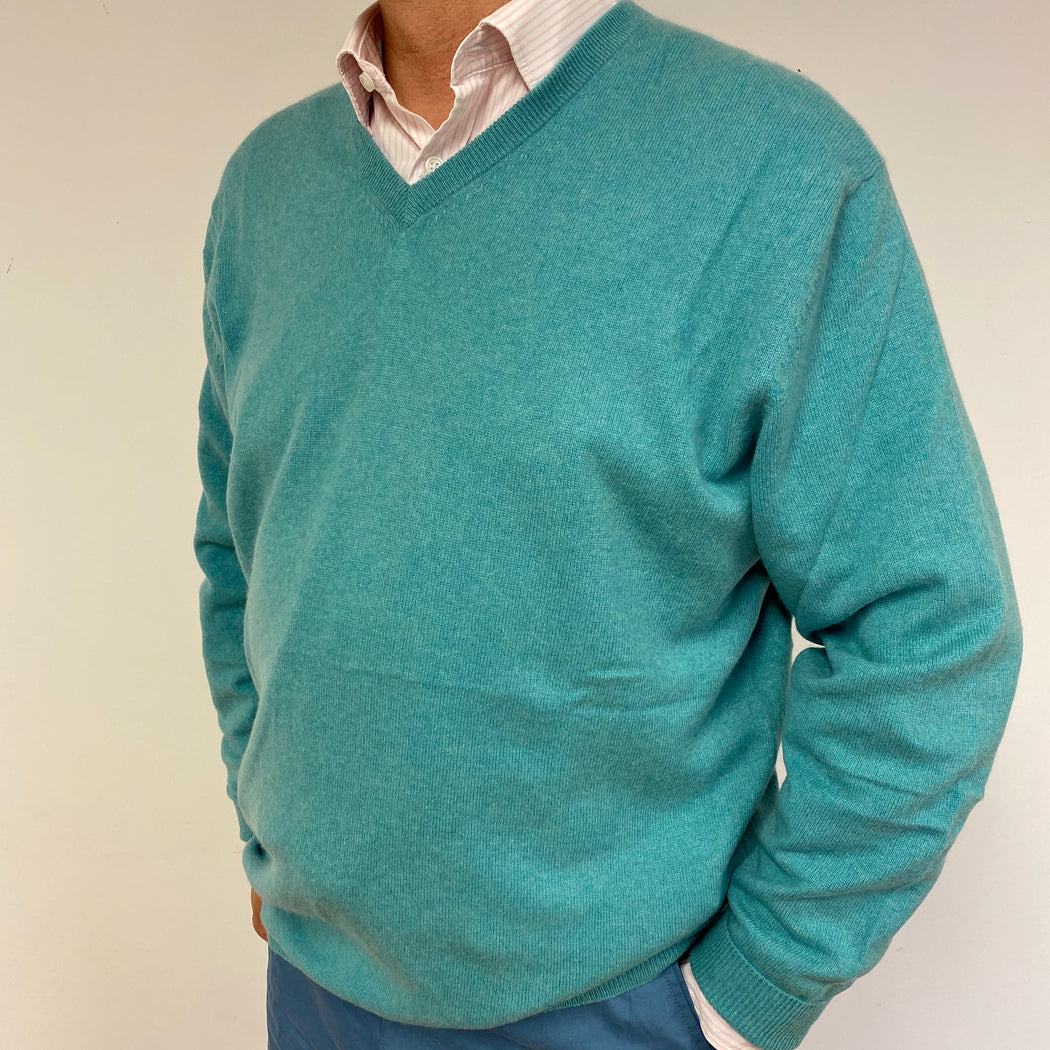 Men's Sea Green V Neck Jumper XL