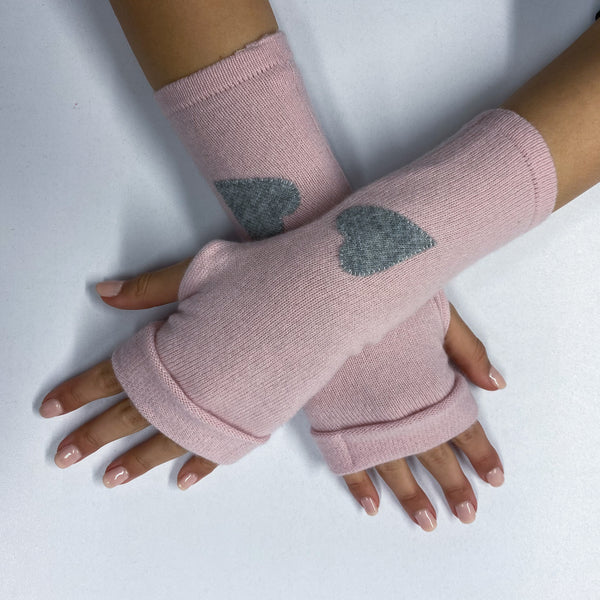 Baby Pink and Grey Heart Detailed Fingerless Gloves