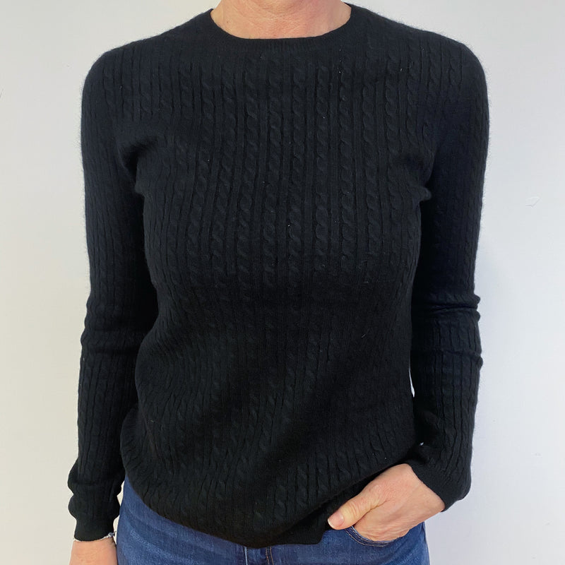 Black Cable Knit Crew Neck Jumper Medium