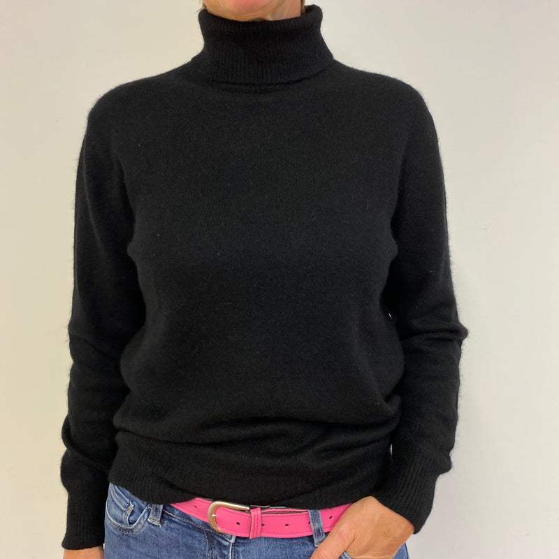 Vintage Neiman Marcus Black Polo Neck Jumper Medium