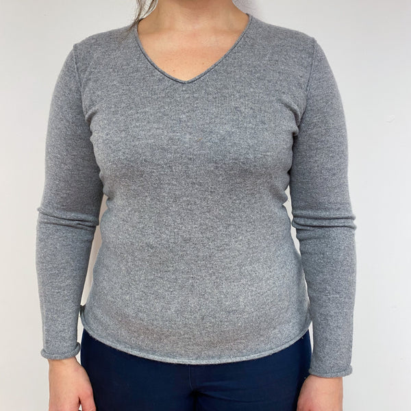 Mid Grey V Neck Jumper Large