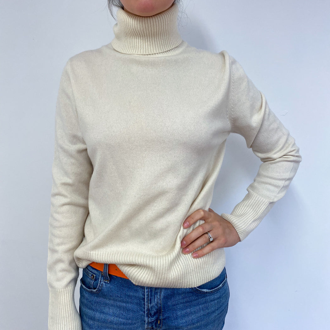 Cream Polo Neck Jumper Medium
