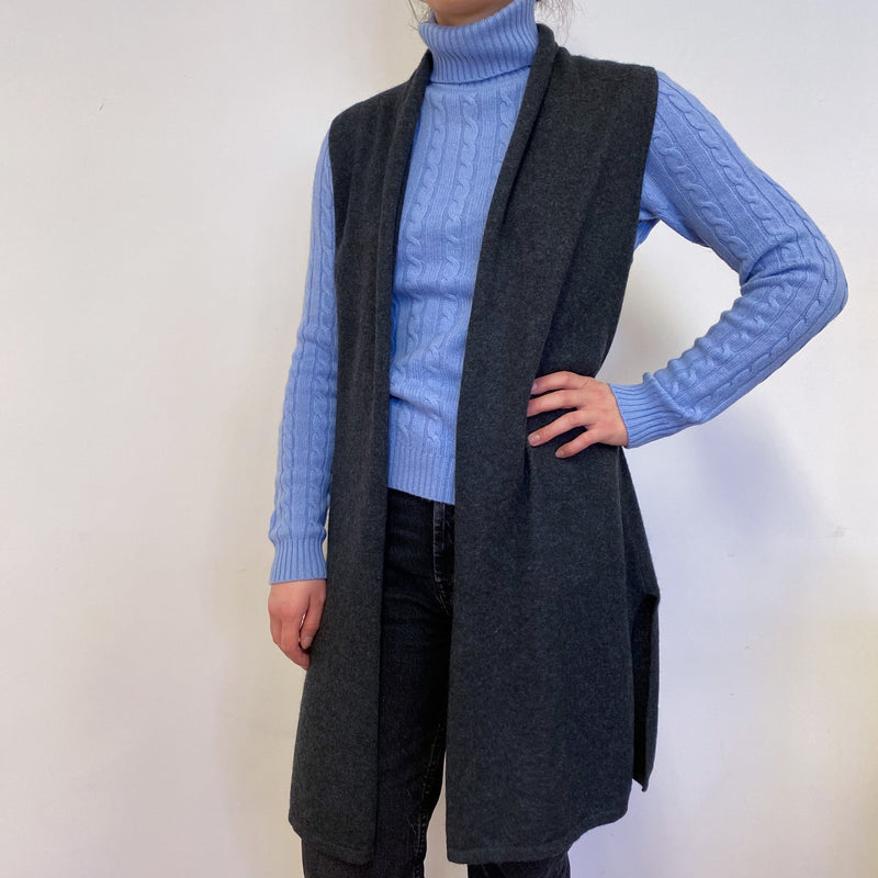 Charcoal Grey Sleeveless Edge to Edge Cardigan Small