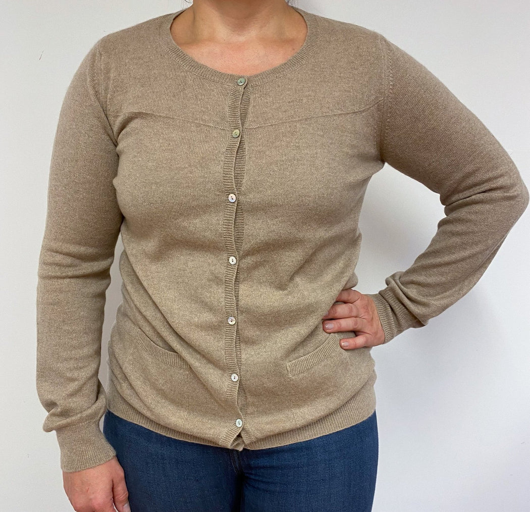 Crew Neck Longline Latte Cardigan Large