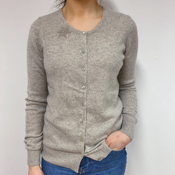 Dusty Grey Star Detailed Crew Neck Cardigan Small