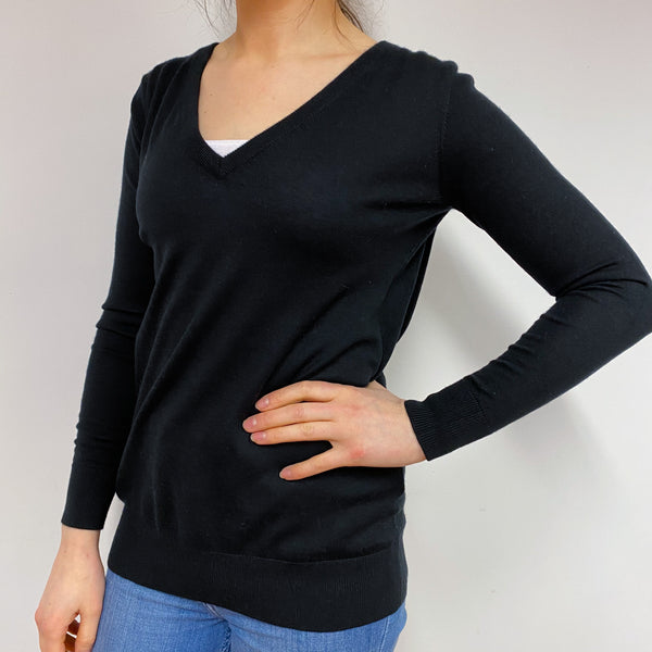 Black V Neck Cut Out Detail Jumper Small