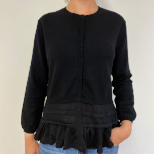 Lovely Black Cardigan With a Frilled Hem Medium