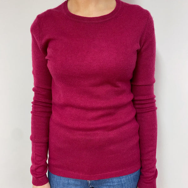 Fuchsia Pink Crew Neck Jumper Small