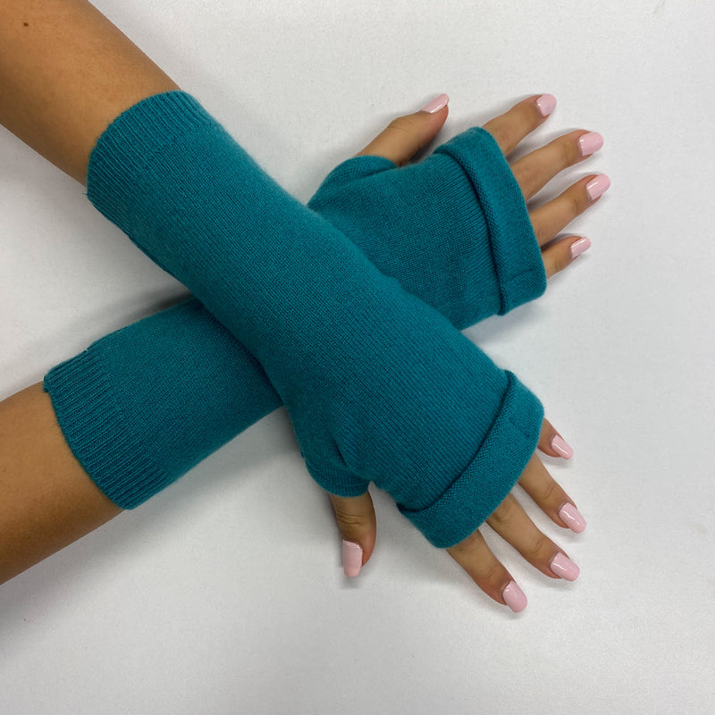 Aqua Green Fingerless Gloves
