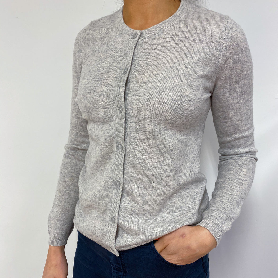 Classic Grey Crew Neck Buttoned Cardigan Small