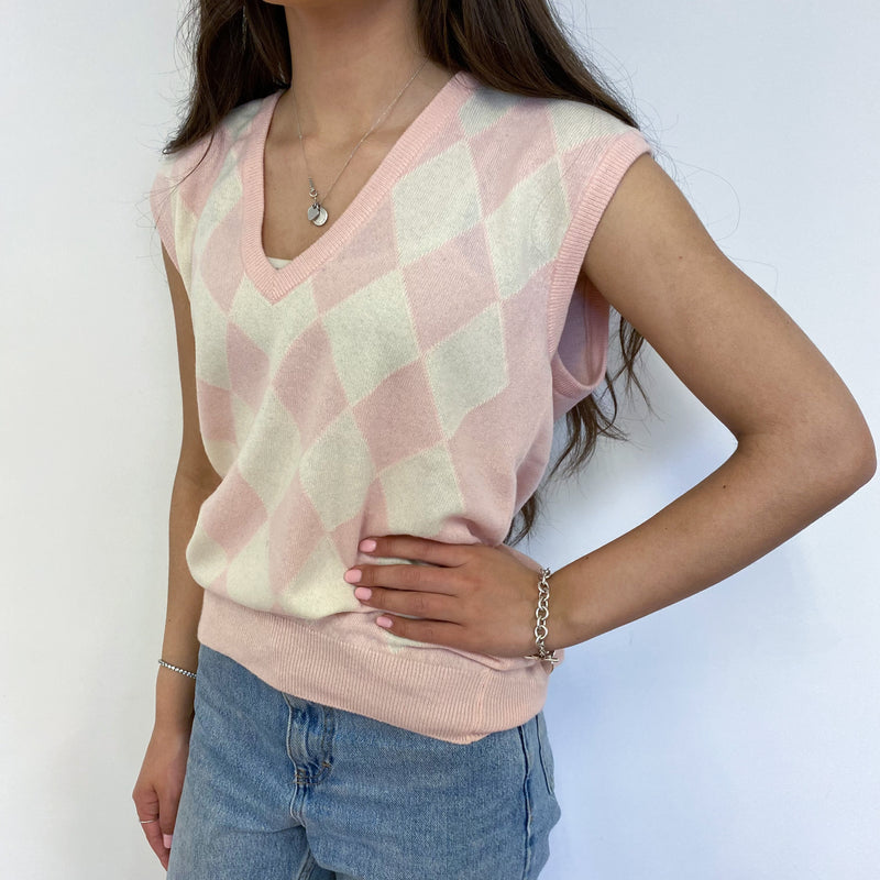 Baby Pink Diamond Pattern V Neck Tank Top Extra Small