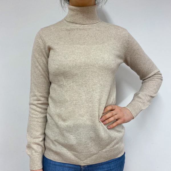 Classic Oatmeal Polo Neck Jumper Small