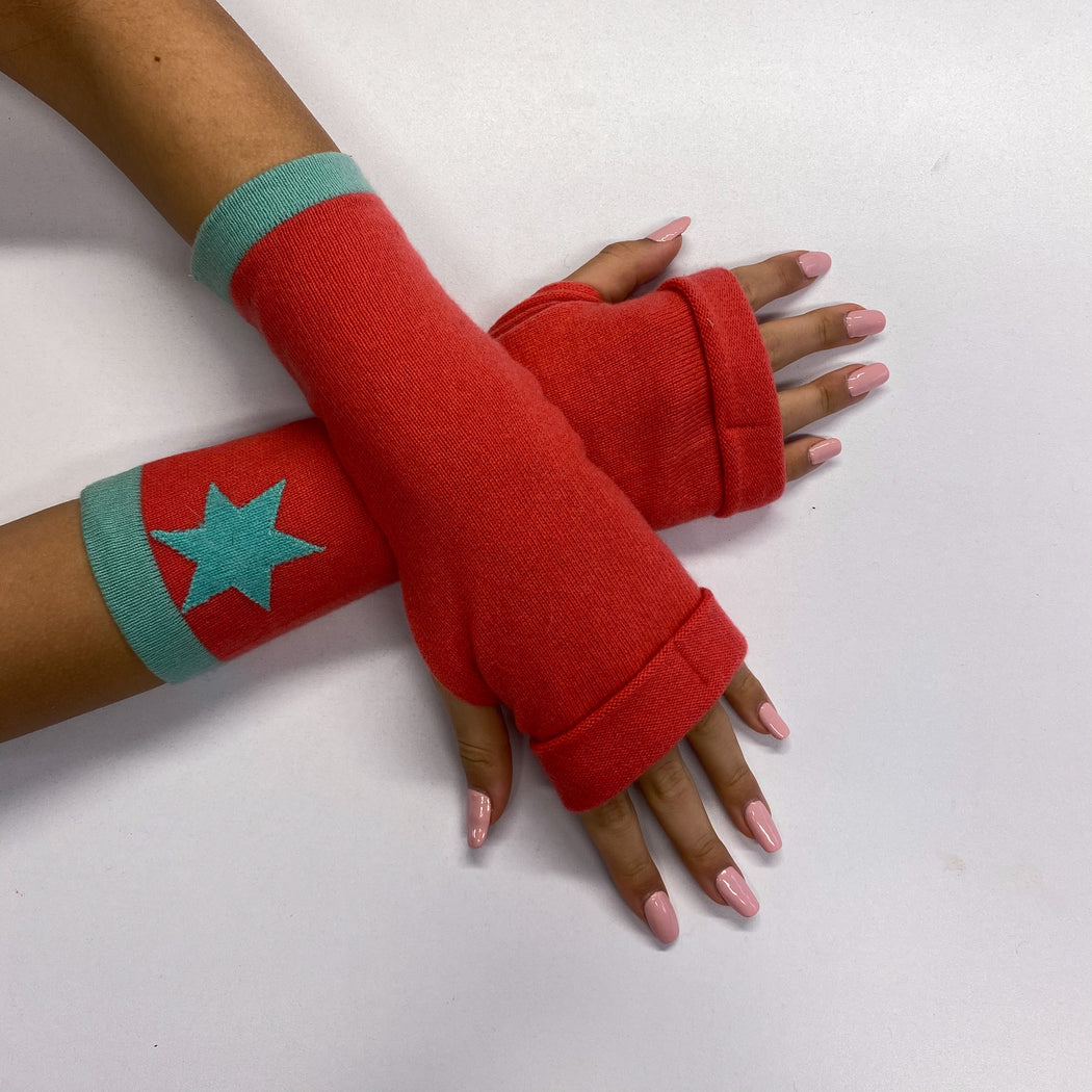 Coral Pink and Blue Star Detailed Fingerless Gloves