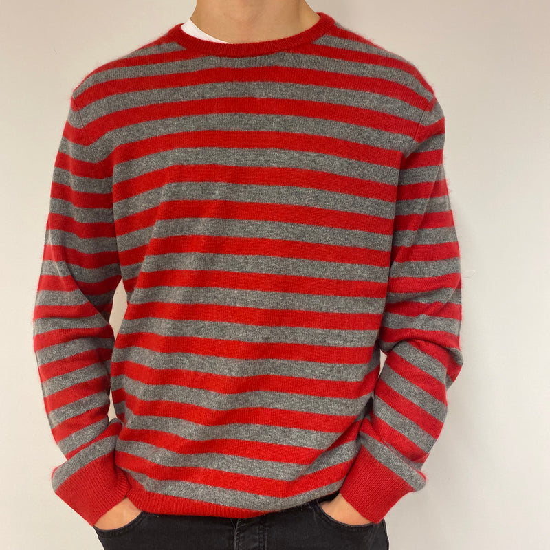 Men's Grey & Red Striped Crewneck Jumper Extra Large