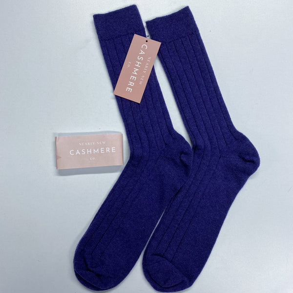 New Blueberry Purple Men's Cashmere Socks One Size