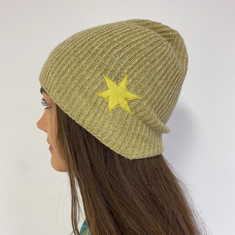 Soft Green Star Detailed Beanie Hat One Size